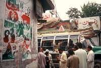 Local bus and cinema posters, Old Peshawar, Pakistan