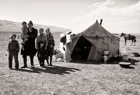 Nomadic family with yurt, Lake Son-Kul, central Kyrgyzstan